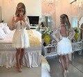 2016 Nuevo y Elegante de Encaje Corto Prom Vestidos de Cóctel Corto Ver a través de La Manga Vestido de Fiesta Sheer Sexy Back Correa de Perlas Partido vestidos