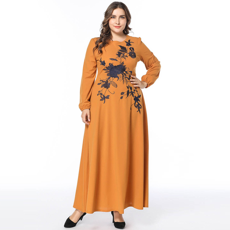 Plus Size 2 COLORS Women High Waist Maxi Dress Long Sleeve Autumn Flower Embroidery Zipper Up Long Dresses Vestido Robe 3XL 4XL