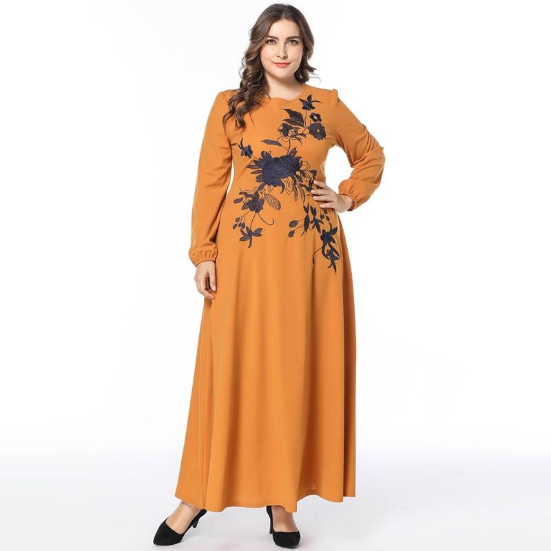 Plus Size 2 COLORS Women High Waist Maxi Dress Long Sleeve Autumn Flower Embroidery Zipper Up Long Dresses Vestido Robe 3XL 4XL