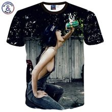 2017 Mr.1991INC Men/Women attractive t-shirt summer time tops 3d t shirt print attractive denims woman ingesting humorous character tshirt 5809