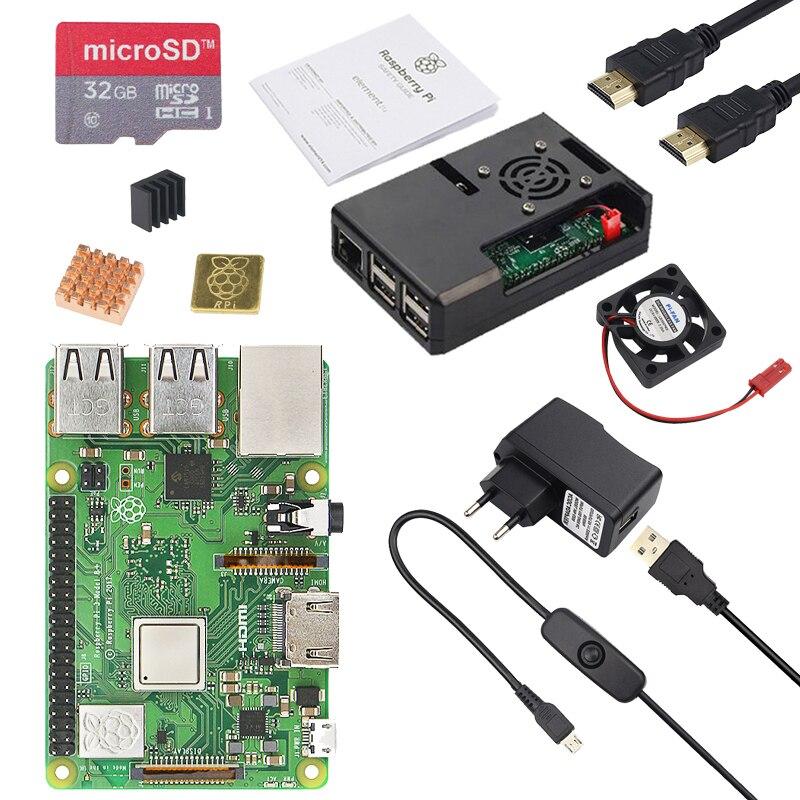 D'origine ROYAUME-UNI Raspberry Pi 3 Modèle B + Conseil avec 1 GB LPDDR2 Quad-Core WiFi & Bluetooth + ABS Cas + adaptateur secteur + dissipateur de chaleur Pi 3B +