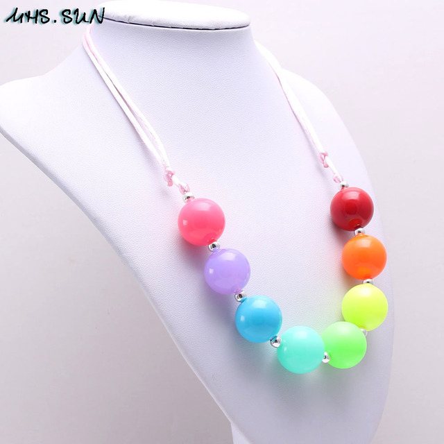 MHS.SUN Fashion Beads DIY Jewelry Kids Acrylic Bubblegum Rainbow Necklace Adjustable Rope Necklace for Child Girls Accessories