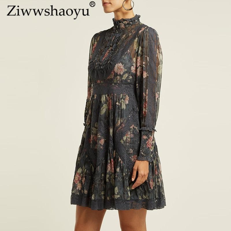 En Ziwwshaoyu Bohème Robes Bord Sexy Stand Voir 2019 Dentelle Imprimer Travers Printemps Femmes Multi Nouvelles 100 Et Soie D'été Robe À Élégante gYnwY8rp4q