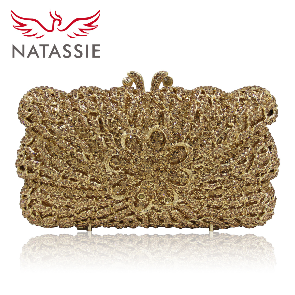 ФОТО NATASSIE Women Evening Bag New Spring Flower Female Crystal Day Clutches Bags Ladies Gold Day Diamond Wedding Purses