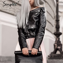 Simplee Off shoulder faux leather jacket women motorcycle jacket 2016 autumn winter outerwear coats Short zipper basic jackets