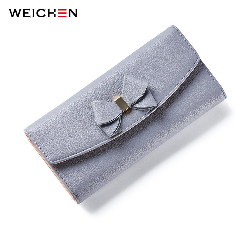 WEICHEN New Design Bow Women Long Wallet Solid Simple HASP Fashion Evening Clutch Brand Lady Purse Female Phone Card Coin Pocket casual weaving design card holder handbag hasp wallet for women