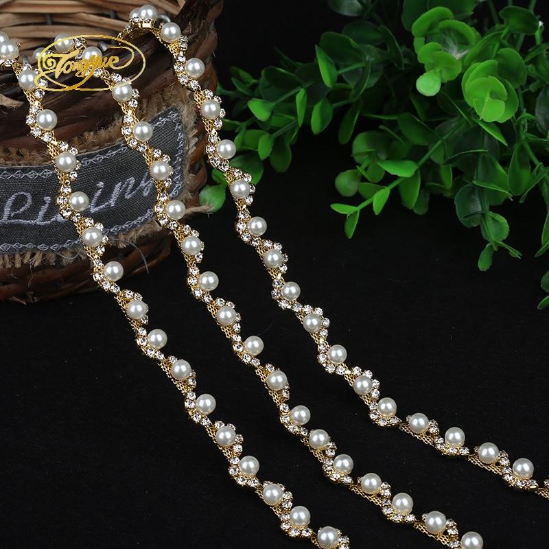 1 Yd Aloi Rantaian Mutiara Asas Pakaian Perhiasan Ornamen Silver Trim - Seni, kraf dan jahitan - Foto 3