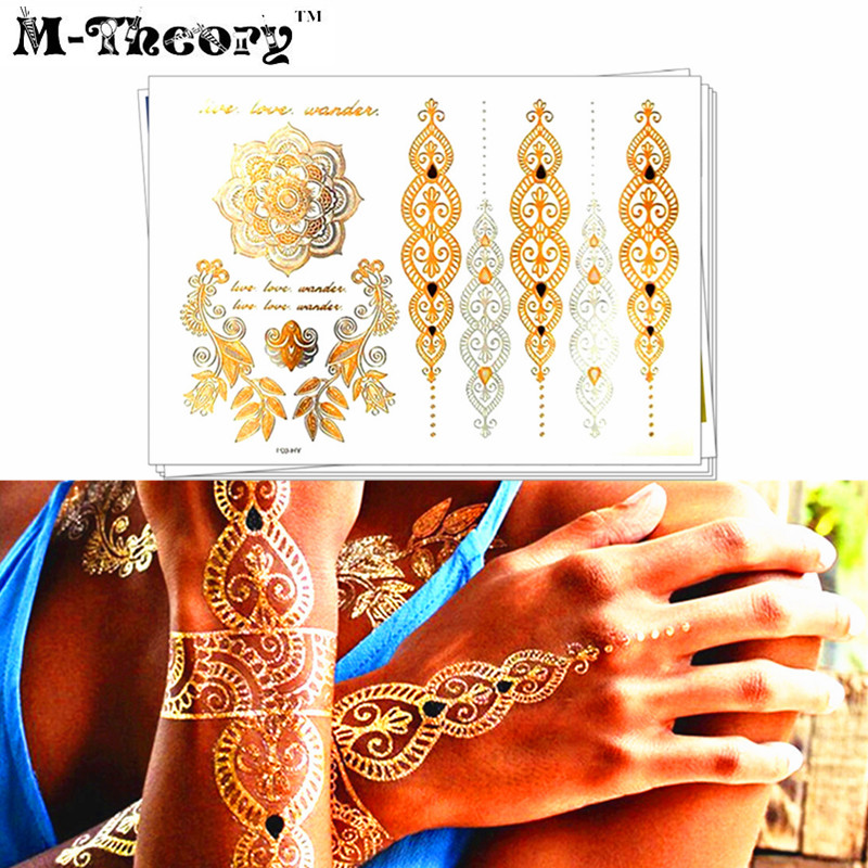 M-Theory Metallic Gold Choker Makeup 3D Temporary Flash Tattoos Sticker Henna 3d Tatoos Tatuagem Body Art Tatouage Tatto Sticker