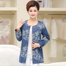 New Middle Aged Women Long Sleeve Printed Cotton Denim Jacket Overcoat Jean Coats Plus Size Ladies Outwear D1408