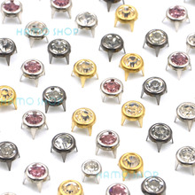 50pcs/lot 10mm Round A Grade Rhinestone Crystal Studs Spot Spikes Rivets Punk Leather Craft Bag