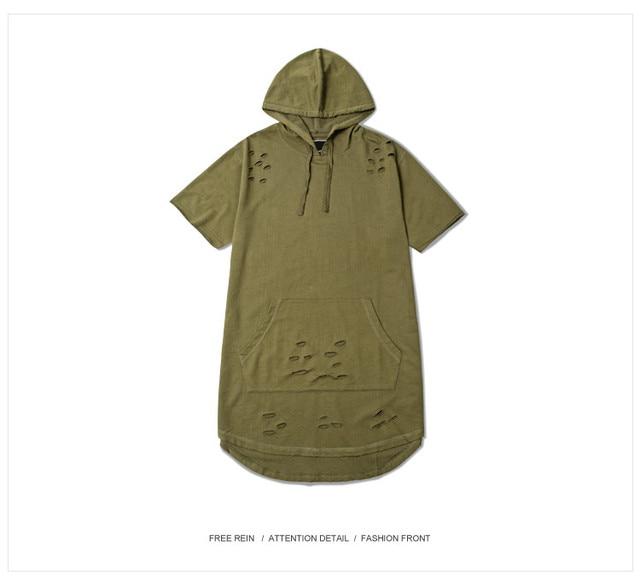 PROVERGOD Summer Hip Hop Men Hoodies Fashion Hole Kanye Style Short Sleeve  Hoody Streetwear hoodie 5 Colors