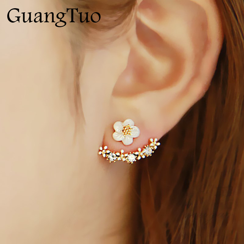 New Fashion Jewelry Beautiful Cherry Blossoms Flower Stud Earrings for Women Crystal Small Daisy Flower Earrings Female