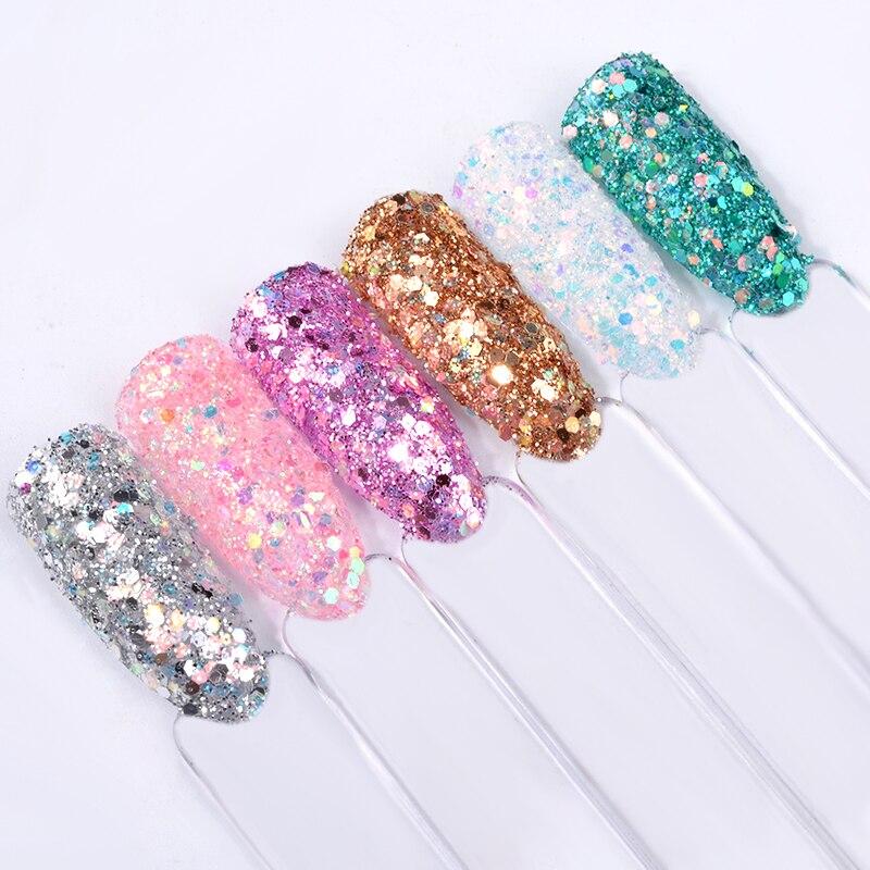 6boxes/set Laser Mixed Nail Glitter Powder Sequins Shinning Colorful Nail Flakes 3d DIY Charm Dust For Nail Art Decorations 2