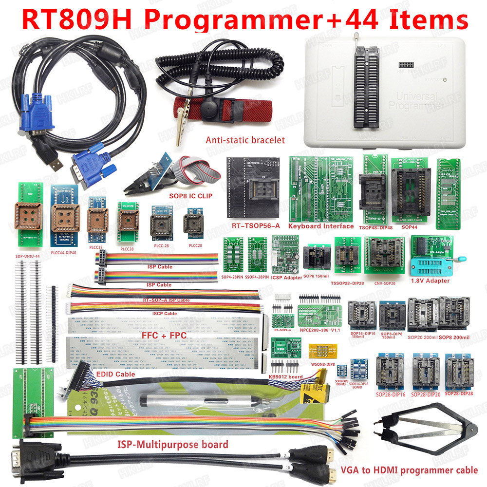 2019 Newest RT809H Universal Programmer Emmc Nand Programmer + 44 Items ISP Adapter TSOP48 TSOP56 IC Test Clip EDID Read Line-in Integrated Circuits from Electronic Components & Supplies