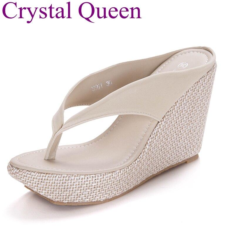 5af78c604d8 Dropwow Crystal Queen Summer Bohemia Platform Wedges Sandals Slippers Flip  Flops Wedges Heels Flip Flops Sandalias Plataforma Blancas