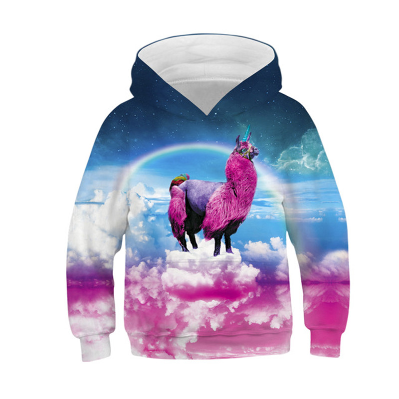 New Rainbow Color Kids Hoodies Boys/Girls 3d Sweatshirt Alpaca Printed Funny Cartoon Clothes Children Pullovers Tops