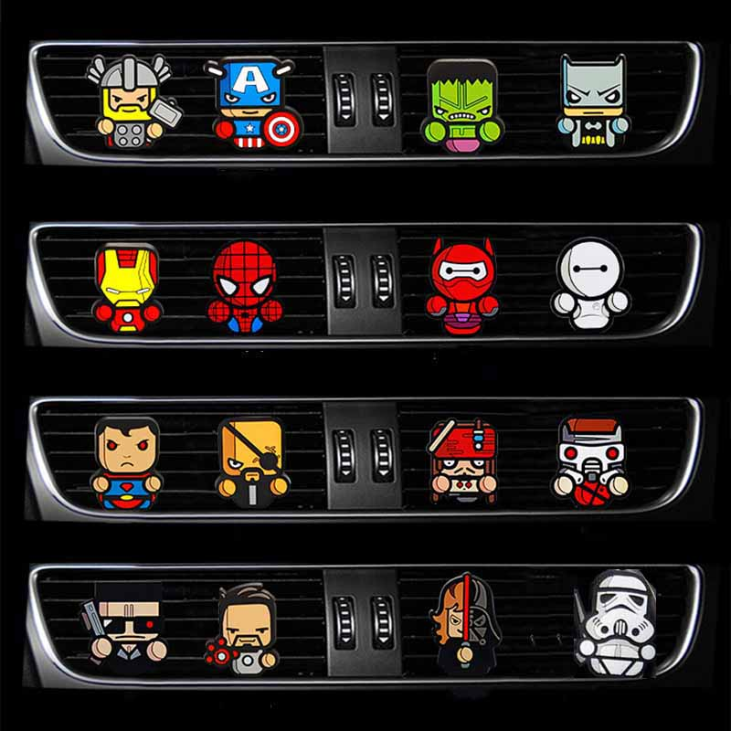 Car Perfume Cartoon Air Freshener Perfumes The Avengers Marvel Style Star Wars Iron Man Auto Air Condition Vent Outlet Clip