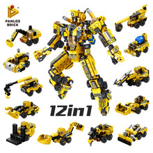 573PCS City Project Mecha 12in1Engineering Car Excavator Forklift Mixer Truck Crane Drilling Car Fun Building Block Toy For Kids(China)