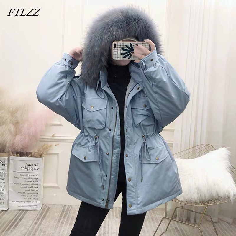 FTLZZ White Duck Down Coat Women Winter Jackets Large Natural Raccoon Fur Hooded Parkas Female Sash Tie Up Warm Snow Outwear