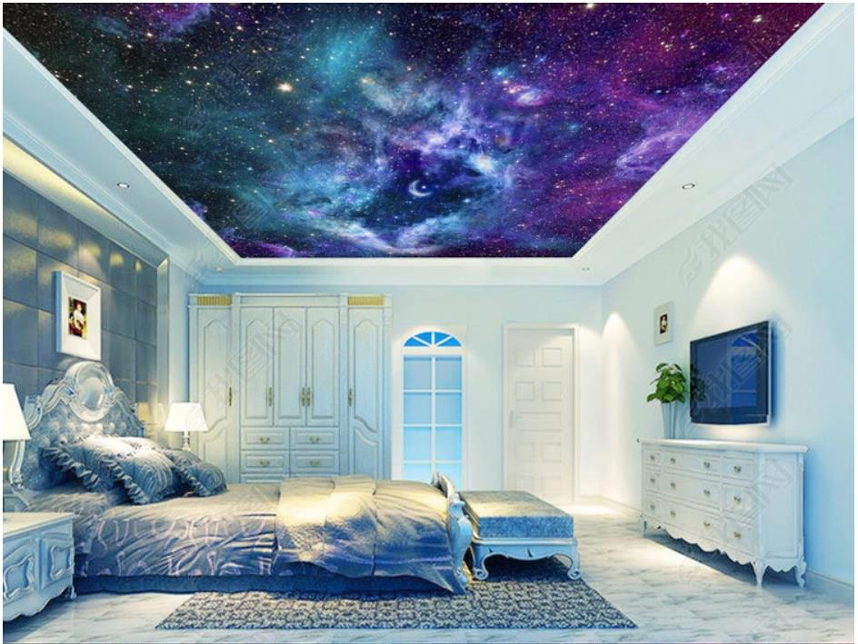 Us 1221 45 Offcustom Photo Wallpaper 3d Ceiling Wallpaper Fantasy Universe Starry Living Room Bedroom Sky Ceiling Zenith Mural Painting Wall In