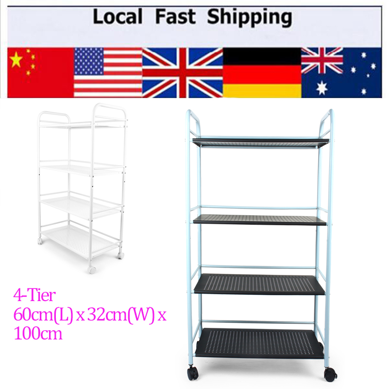langria 4tier metal rolling cart toy storage shelving rack for vegetable kitchen bathroom