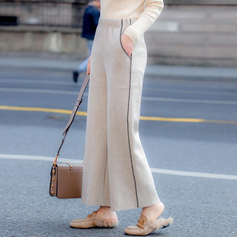 Bordado gray Lana 2 Cintura Dulce E Otoño Mujer Elástico Casual Pantalones Beige Invierno Mujeres Pantalon De Harajuku Color Con Bolsillo 2018 YBzqwP