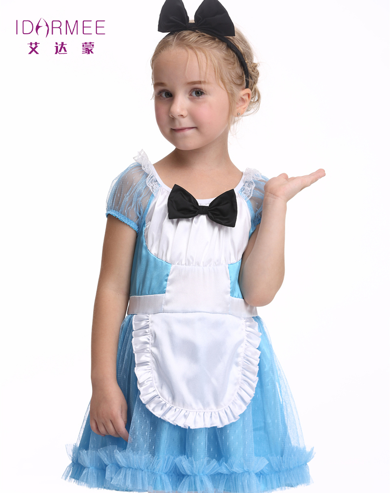 IDARMEE Kids Maid Costumes Soft Satin Organza Cute Waitress Maid Cosplay Children Party Maid Dress for Girls Outfits S9068