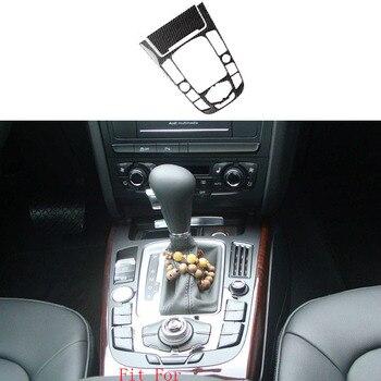 2x 100% Carbon Fiber Center Gear Shift Frame Cover Trim For Audi A4 B8 2009-2012 & A5 08-12 & Q5 09-12