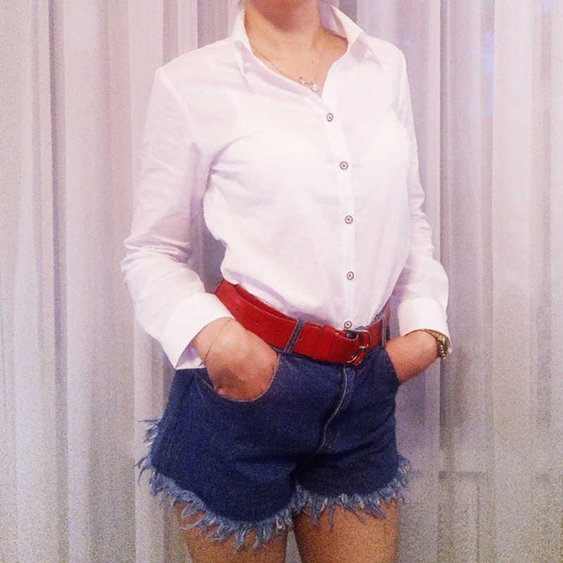 Dioufond Escola Mulheres Camisa Azul Branco Partes Superiores Das Senhoras Blusas de Manga Comprida Camisa Feminina Top Escritório de Bolso Com Gato Bordado