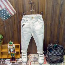2016 child casual pants spring children's clothing slim trousers ploughboys all-match white pants elastic skinny pants