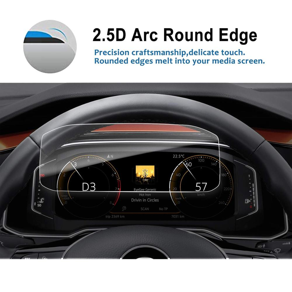 RUIYA screen protector for Volkswagen vw T-Roc/Volkswagen vw Polo LCD  instrument panel screen,9H tempered glass protective film