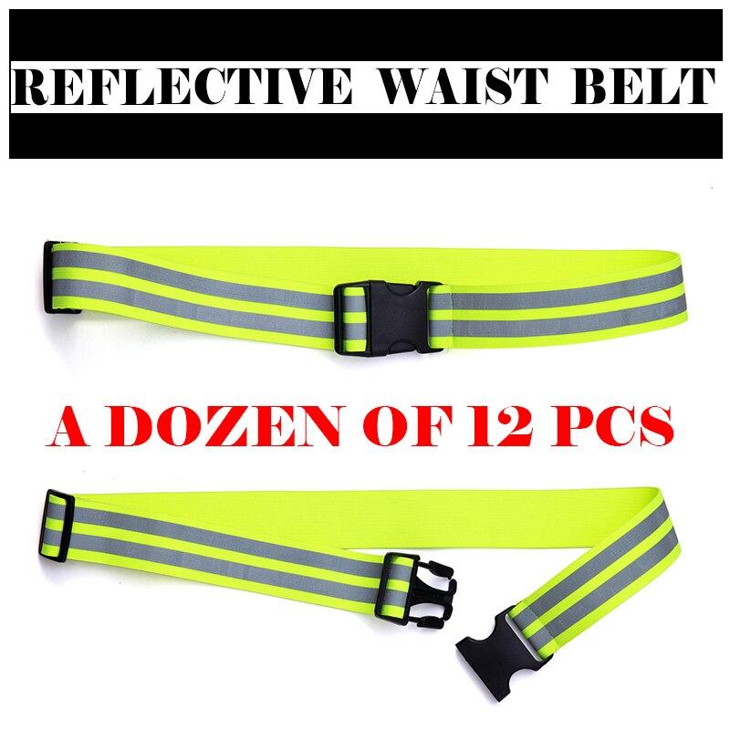 A dozen of 12pcs Elastic reflection waist belt adjustable size belt reflective traffic cycling jogging waistband free shipping