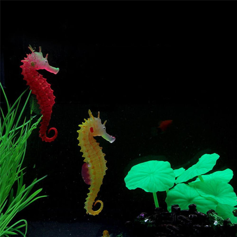 Environmental And Friendly Luminous Sea Horse Hippocampus Aquarium Silicone Fish Tank Decoration Free Shipping