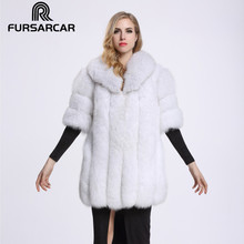 2017 Real Fur Coat For women Plus Size Full Pelt Thickening blue Fox Fur Medium Long Half Sleeve Peach Shaped Collar Jacket C57
