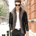 Sheepskin coat leather suede genuine leather down coat men real fox fur thick warm jacket winter leather design New Phoenix
