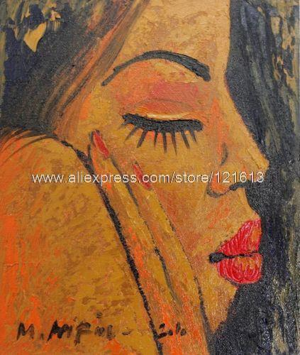 Feeling Depressed Oil On Canvas Painting Portrait Handmade