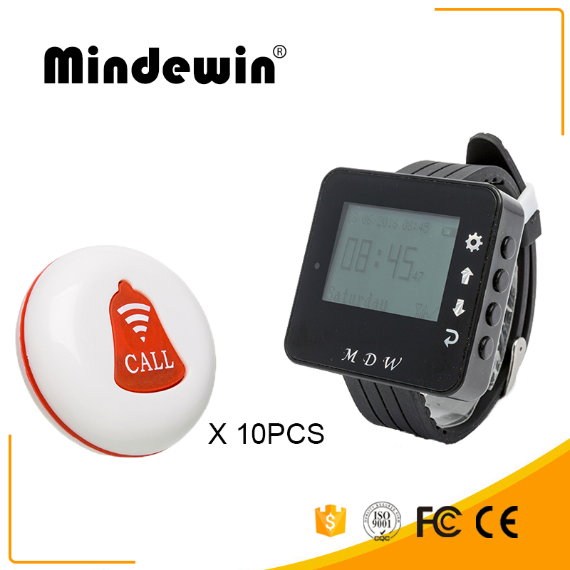 Mindewin Wireless Calling System 10PCS Call Buttons and 1PCS Wrist Watch Pager Restaurant Waiter Service Call Bell System wireless table call system monitor bell buzzer used in the cafe bar restaurant 433 92mhz 2 display 1 watch 18 call button