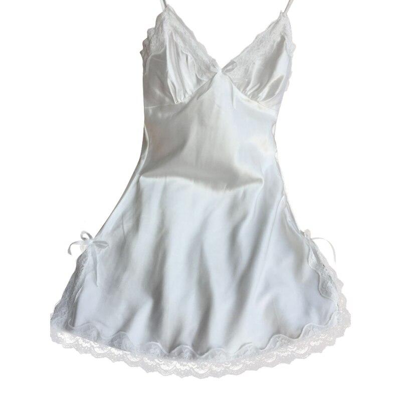 Sexy Women Lace Silk Satin Sleeveless Night Dress Nightdress Sleepwear Nightwear Plus Size 1