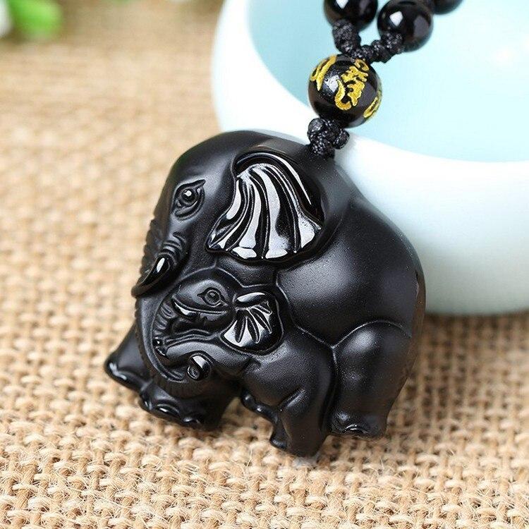 Natrual Обсидиан Резной слон нос Бог богатства счастливые Подвески черный обсидиан ожерелье кулон|Подвески|   | АлиЭкспресс