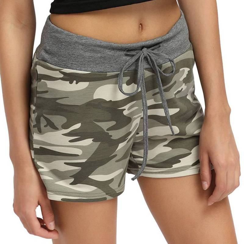 Fashion Women\'s Large Size   Shorts   Camouflage Printed Elastic Lacing Waist Wide Leg   Short   Casual Breathable Quick-drying   Shorts