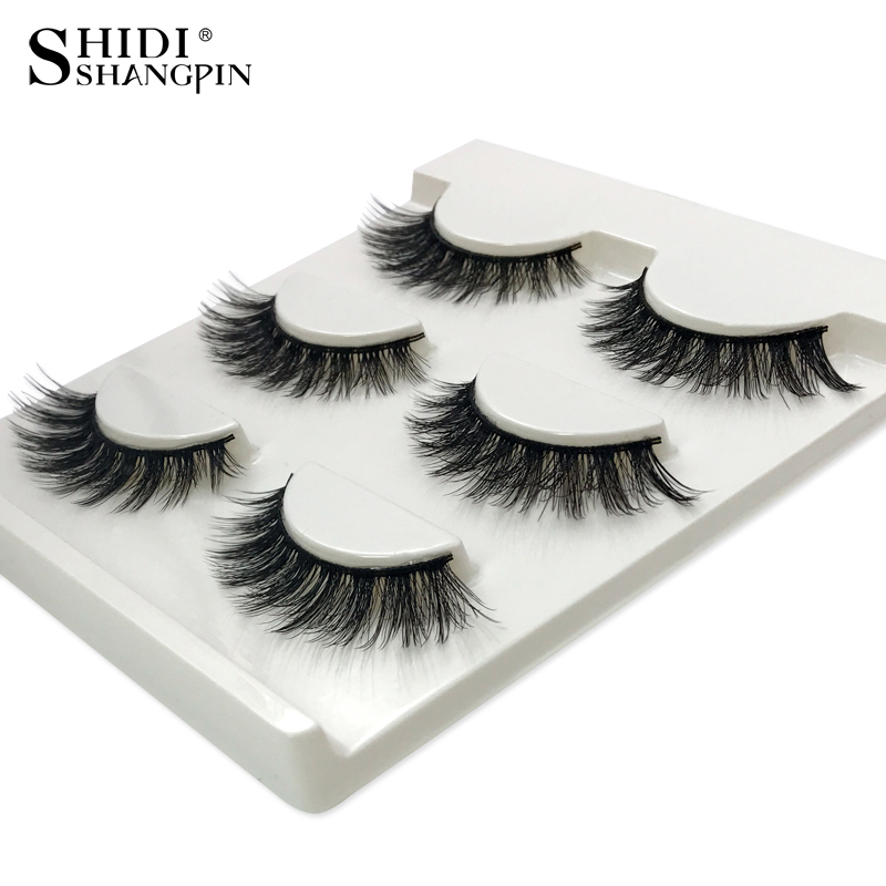 SHIDISHANGPIN 1 box mink eyelashes natural long makeup false lashes 3d mink lashes hand made make up eyelash extension X08