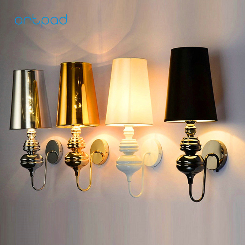 Artpad Modern Indoor Industrial Wall Lamp Black White Gold Chrome E27 LED Classic Wall Lights for