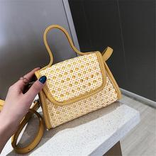 купить Small Square Bag Rattan Straw Hand Woven Shoulder Bag Handbag Crossbody Women Summer Bags Purse Tote Beach Casual Messenger Bags дешево