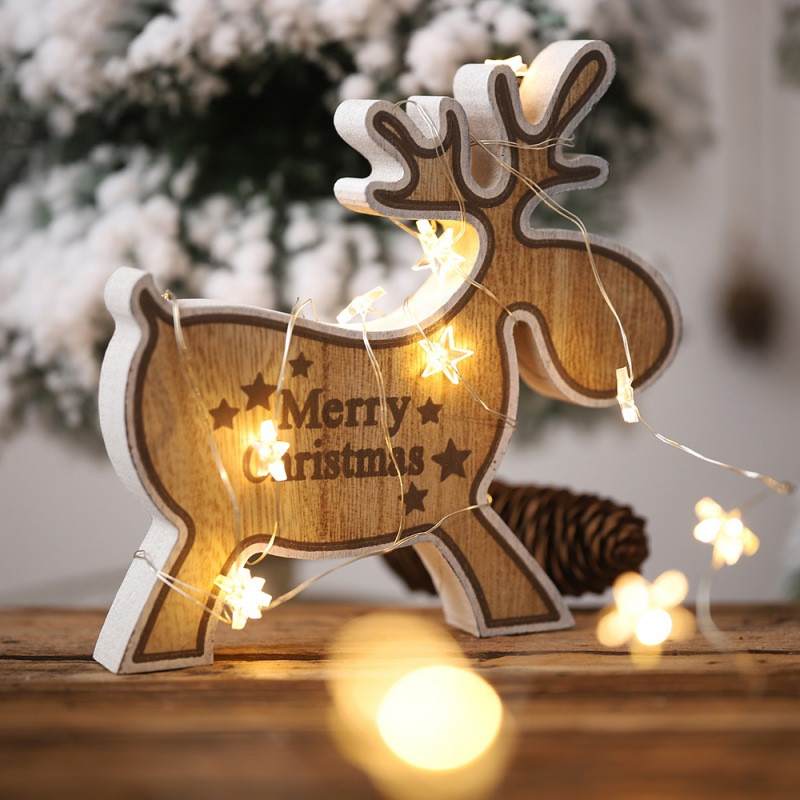 Christmas Wooden Elk Ornaments Home Desktop Decoration For Holiday Kids Gift Party Decor