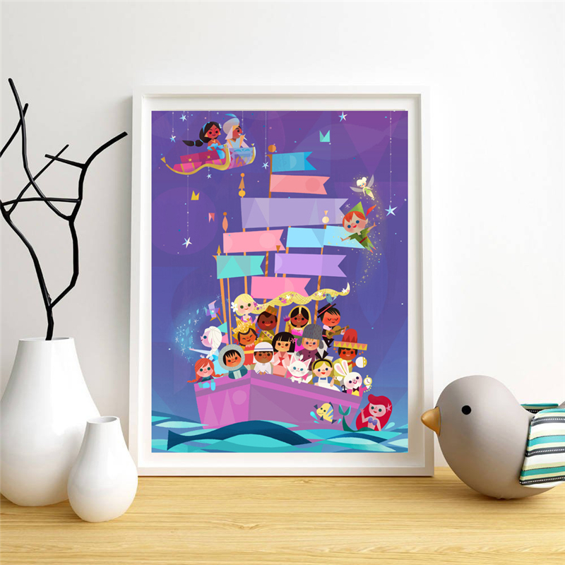 It's A Small World Cartoon Wallpaper Wall Art Canvas Posters Prints Painting Wall Pictures For Office Bedroom Home Decor Artwork