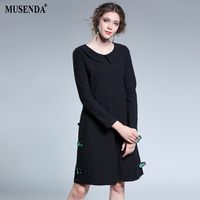 MUSENDA Plus Size Women Black Appliques Peter Pan Collar A-Line Dress 2017 Autumn Female Sweet Dresses Clothing Robe Vestido