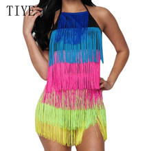 TIYE Women Summer Sexy Halter Tassel Dress Dance Backless Bodycon Party Club Short Colorful Rainbow Fringe Mini Dresses