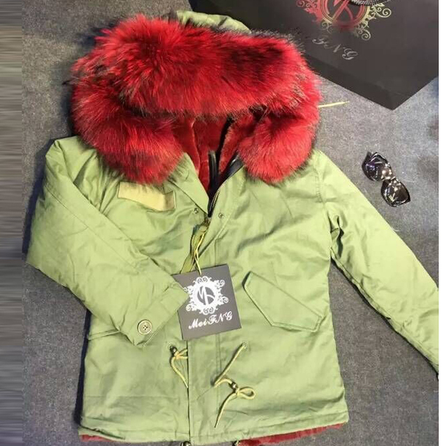 Newest women short red fur coat,black/army green parka big collar ...