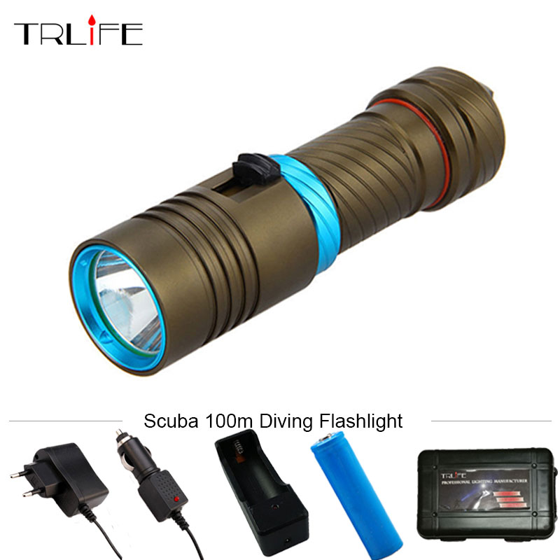 Scuba 100m Underwater Diving Flashlight 5000LM CREE XM-L2 LED Waterproof Torch Light Flash Lamp Torch 18650 FREE GIFT BOX diving light 6 x cree xm l2 led scuba diving flashlight light waterproof underwater 100m torch use 32650 battery