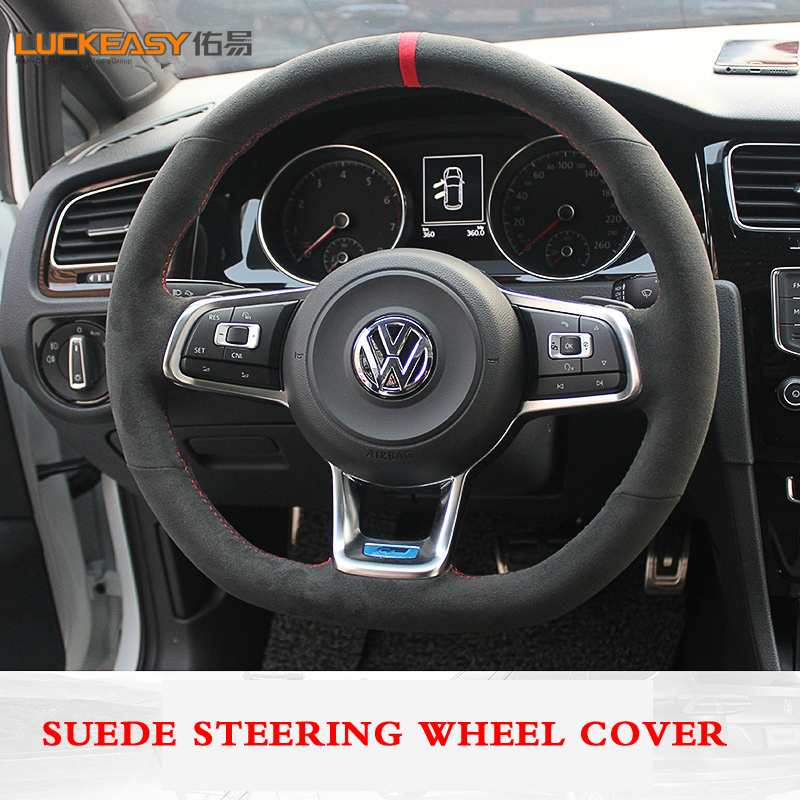 Black suede Leather Car Steering Wheel Cover for Volkswagen Golf 7 Golf R MK7 VW Polo GTI Scirocco 2015 2016